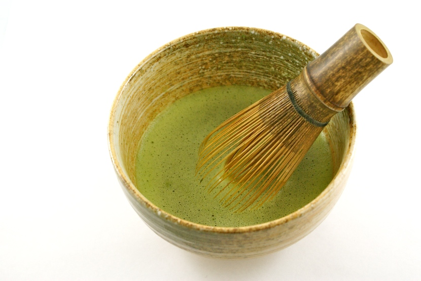 Ceremonial matcha in chawan with chasen